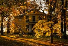 Old villa in the autumn sunrise royalty free stock photos