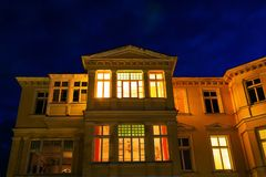 Old villa in Ahlbeck, Germany, at night. Old villa in the Baltic Sea resort Ahlbeck, Germany, at night Royalty Free Stock Photos