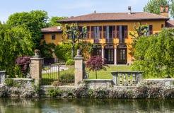 Old villa on the Martesana canal (Milan, Italy) Royalty Free Stock Photo