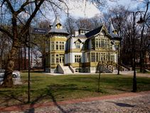 Old villa. Of one of the owners of factories in Lodz Monuments from the open-air museum of wooden architecture in Lodz Royalty Free Stock Images