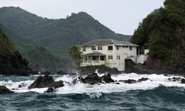 Old Villa at Tobago. The ruinous former Villa of Ian Fleming at Goat Island (Tobago, West Indies Stock Images
