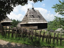 Old village. With houses made from wood in Sirogojno, Serbia royalty free stock images