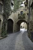 Old Village. A passage inside an old village in Spain (Costa Brava Stock Photography