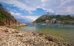 Old village. On the hill at seashore Royalty Free Stock Image