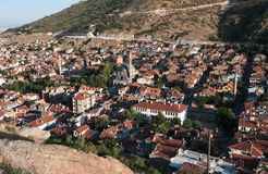 Old Village of Afyon Of Central Anatolia, Turkey. Aerial view of mosque and old village of Afyon in central Anatolia, Turkey Stock Images