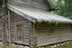 The old Village, the annexe to the wooden house, barn or shed to store tools for work Royalty Free Stock Photos