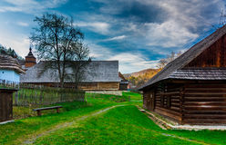 Old village in Bardejovske Spa. Photo of wooden chalets was taken in open air museum Bardejovske SPA, Slovakia royalty free stock photography
