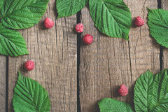 Old village boards Summer background with raspberry and leaves. flat lay with copy space Stock Images