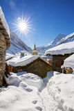 Old village Bonneval-sur-Arc. In winter, France Royalty Free Stock Photos