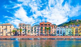 Old village of Bosa on the river Temo. In Sardinia, in a sunny and cloudy day, italy, town, sardegna, architecture, city, mediterranean, italian, house, travel royalty free stock photo
