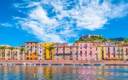 Old village of Bosa on the river Temo. In Sardinia, in a sunny and cloudy day, italy, town, sardegna, architecture, city, mediterranean, italian, house, travel royalty free stock photography