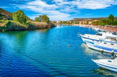 Old village of Bosa on the river Temo. In Sardinia, in a sunny and cloudy day, italy, town, sardegna, architecture, city, mediterranean, italian, house, travel stock image
