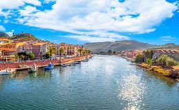 Old village of Bosa on the river Temo. In Sardinia, in a sunny and cloudy day, italy, town, sardegna, architecture, city, mediterranean, italian, house, travel royalty free stock photos