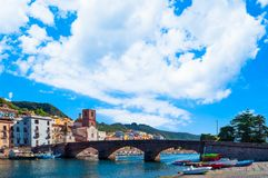Old village of Bosa on the river Temo. In Sardinia, in a sunny and cloudy day, italy, town, sardegna, architecture, city, mediterranean, italian, house, travel stock images