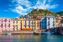 Old village of Bosa on the river Temo. In Sardinia, in a sunny and cloudy day, italy, town, sardegna, architecture, city, mediterranean, italian, house, travel royalty free stock images