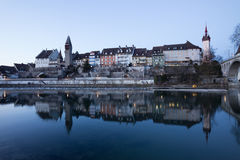 Old Village Bremgarten in Switzerland after Sunset Royalty Free Stock Images