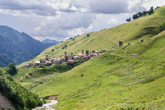 Old village on caucasus mountain Stock Photography