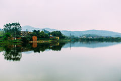 Old village in China,mountain and lake Royalty Free Stock Photo