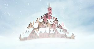 Old village with church on the top at snowfall. Winter seasonal footage with white end to edit vector illustration