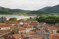 Old Village In Croatia. In background green mountains, sea and brine Stock Photography