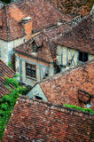 Old village detail of houses with brick roofs Stock Photo