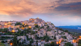 Old village Gordes in the evening, Provence, France Royalty Free Stock Photos