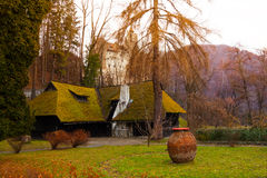 Old village house and Bran Castle, Romania Stock Photo