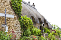 Old village house with cottage flowering garden Stock Photos