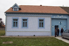 Old village house plastered tiles Stock Image