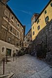 Old village in Ivrea. Stones old buildings Royalty Free Stock Images