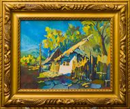 Old village lifestyle painting Stock Photos