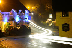 Old Village and Light Trails. The Village Inn is a traditional English pub situated in the Old Village at Shanklin on the Isle of Wight. Here it can be seen Royalty Free Stock Photo