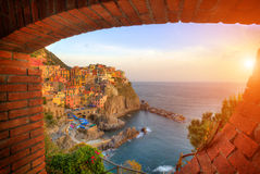 Old village Manarola, coast of Italy Stock Image