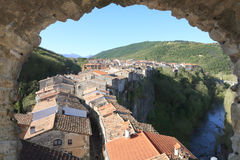 Old village middle age. It is located at Castellfollit de la Roca, giron, spain Stock Photo