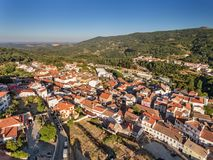 Aerial. Old village of Monchique, view from the sky. Old village of Monchique, the view from the sky Stock Photos