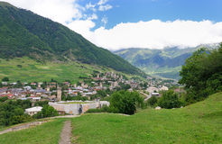 The old village of mountains in the background Stock Images