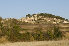 Old village perched on a hill, Rasteau in Provence Royalty Free Stock Photography
