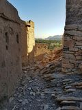 Old village ruins in Oman stock photography