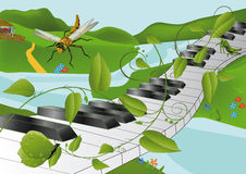 Old village small river. A dragonfly and music Royalty Free Stock Photography