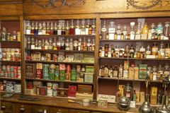 Old village store with medicines stock photos