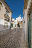 Old village street in Faro, Algarve, Portugal Stock Photography