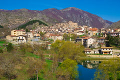 Old village of Villalago in Abruzzo Stock Photos
