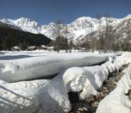 Old village in winter season, Macugnaga - Italy Royalty Free Stock Photo