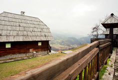 Old village with wooden houses Royalty Free Stock Photos