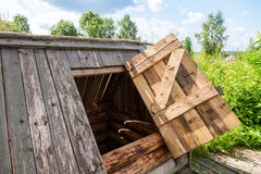 Old village wooden water well Royalty Free Stock Photo
