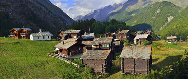 Old village from Zermatt. Gorgeous view of an old Zum See village from Zermatt. Switzerland stock images
