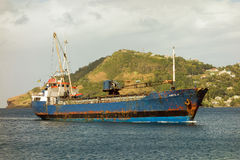 An old vincentian ship arriving at st. vincent Royalty Free Stock Image