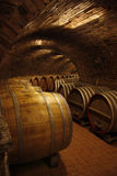 Old vine cellar. With barrels royalty free stock photo