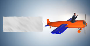 The old vintage airplane with banner ribbon. Old vintage airplane with banner ribbon royalty free stock photos