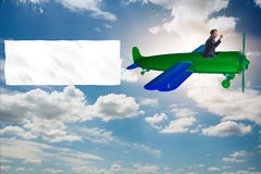 The old vintage airplane with banner ribbon. Old vintage airplane with banner ribbon stock photos